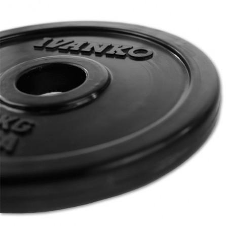 Disque Olympique Plein Caouthcouc Noir Ivanko RUBO-20 kg