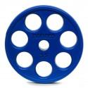 Disque Olympique 7 Trous Caoutchouc Bleu 20 kg